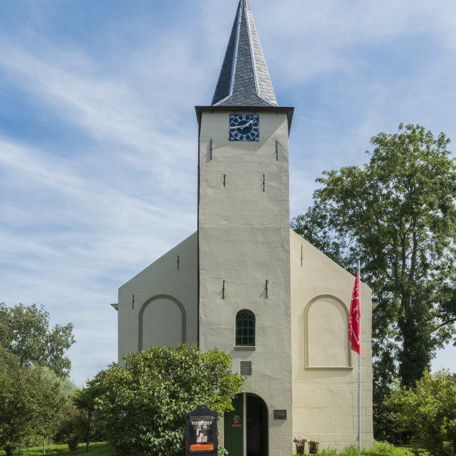 """""""Front of church of Feerwerd"""" stock image"""