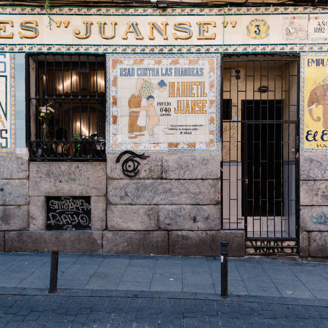 """""""Typical bar in Malasaña district in Madrid"""" stock image"""