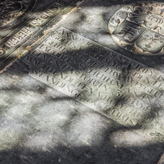 """""""Gravestone in Church Zeerijp"""" stock image"""