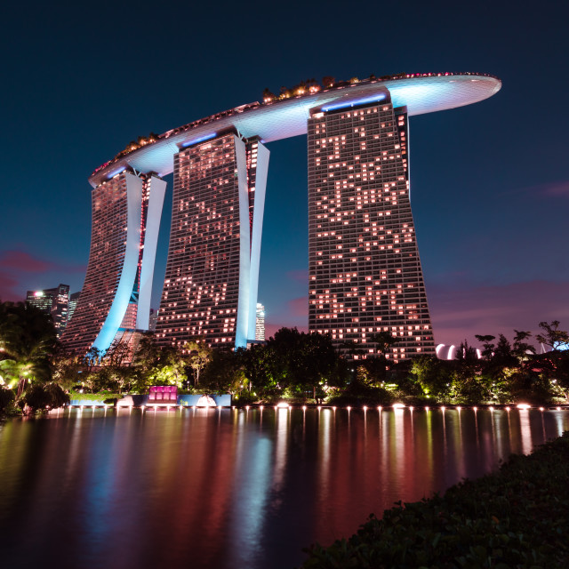"""Iconic Marina Bay Sands Hotel blue hour"" stock image"