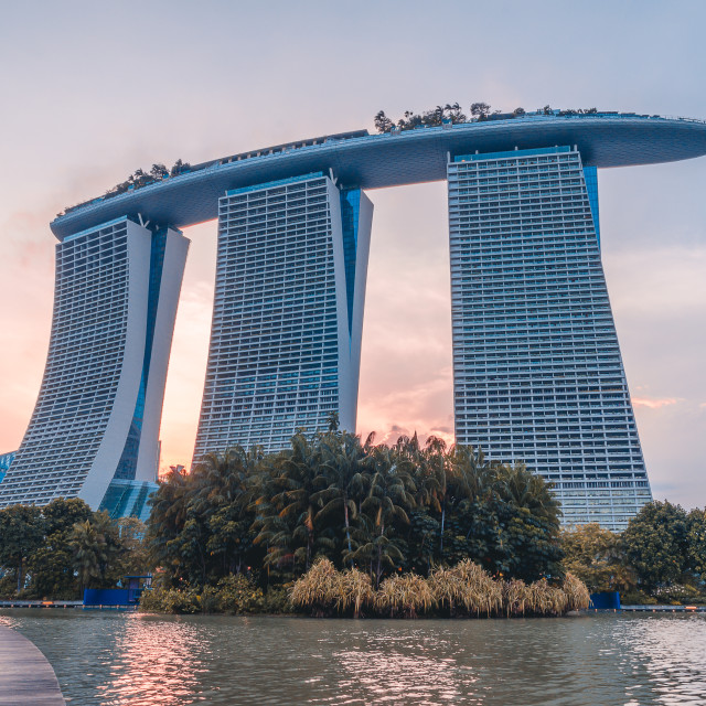 """""""Iconic Marina Bay Sands Hotel evening"""" stock image"""