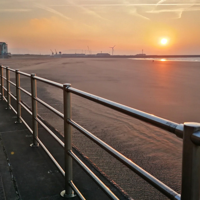 """sunrise Swansea Bay"" stock image"