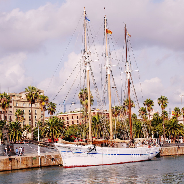 """Santa Eulalia sailing ship, Barcelona"" stock image"