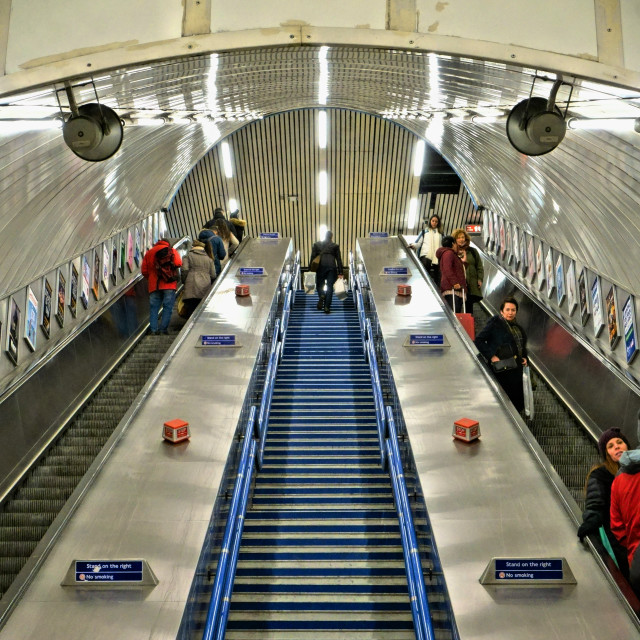 """Escalator in the London Underground"" stock image"