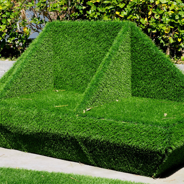 """""""Original outdoor bench covered with artificial turf"""" stock image"""