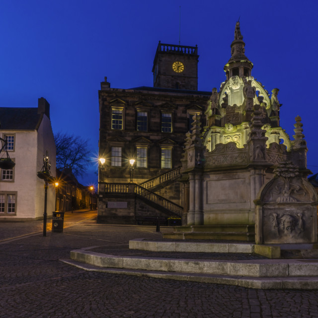 """""""Linlithgow Cross and Town House by Night"""" stock image"""
