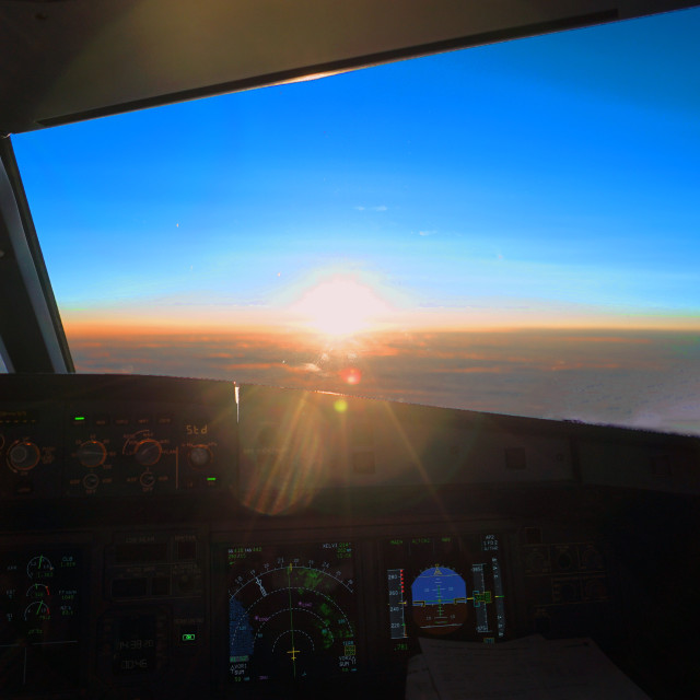 """Finnair Airlines cockpit - Sunset"" stock image"