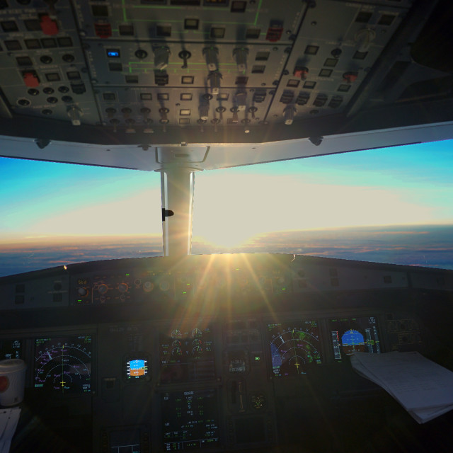 """Sunset from the cockpit"" stock image"