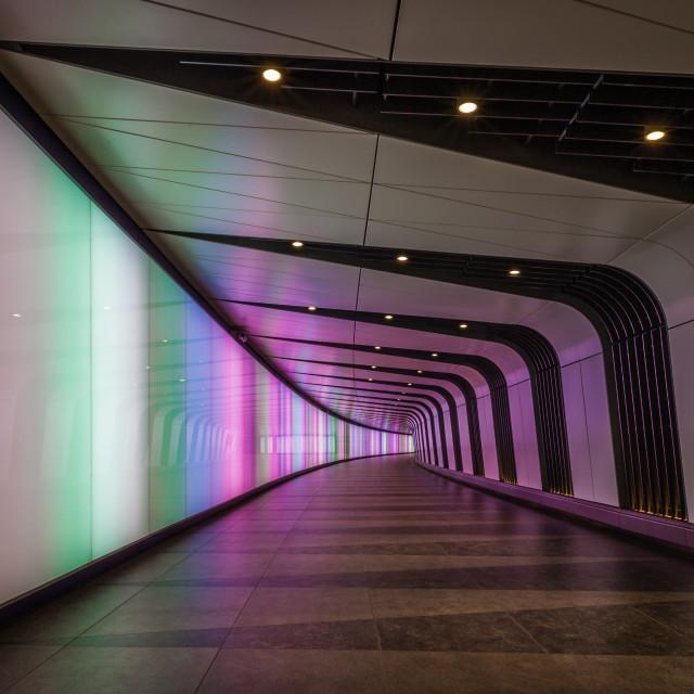 """Illuminated Walkway, King's Cross"" stock image"