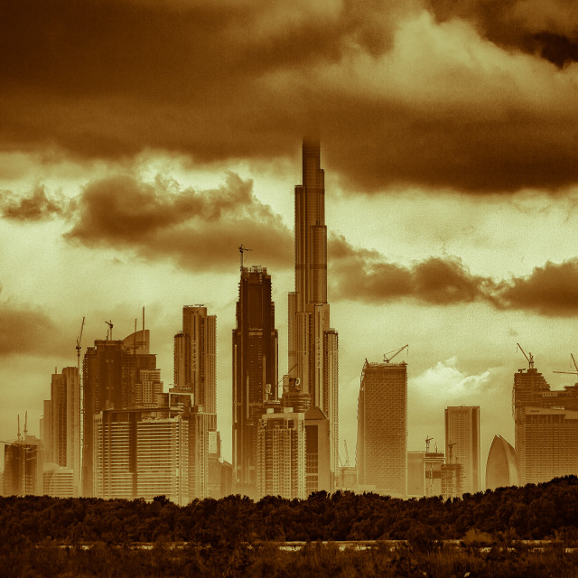"""Sandstorm across Dubai"" stock image"