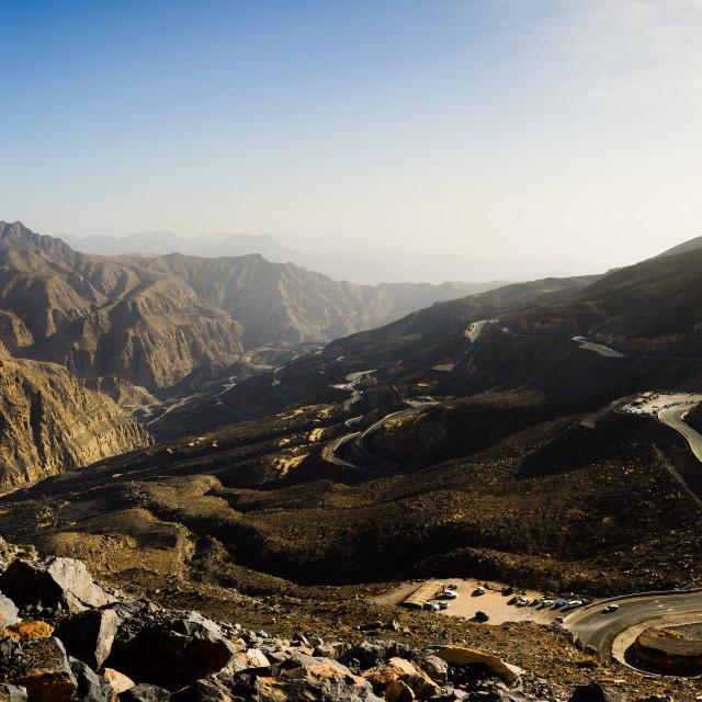 """Jabal Jais the highest mountain in the UAE"" stock image"