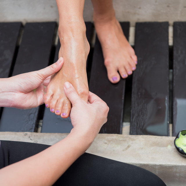 """cleaning customer foot before spa and Thai massage, relaxing and lifestyle"" stock image"