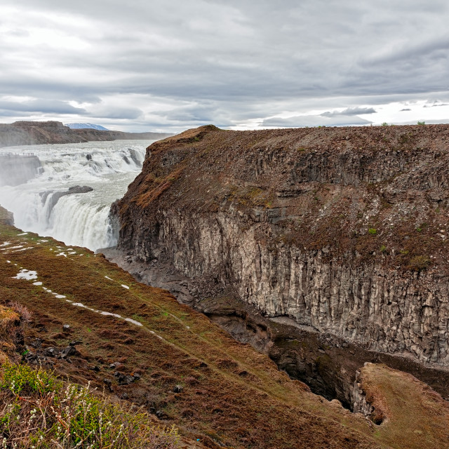 """""""Gullfoss waterfall in a cloudy day"""" stock image"""