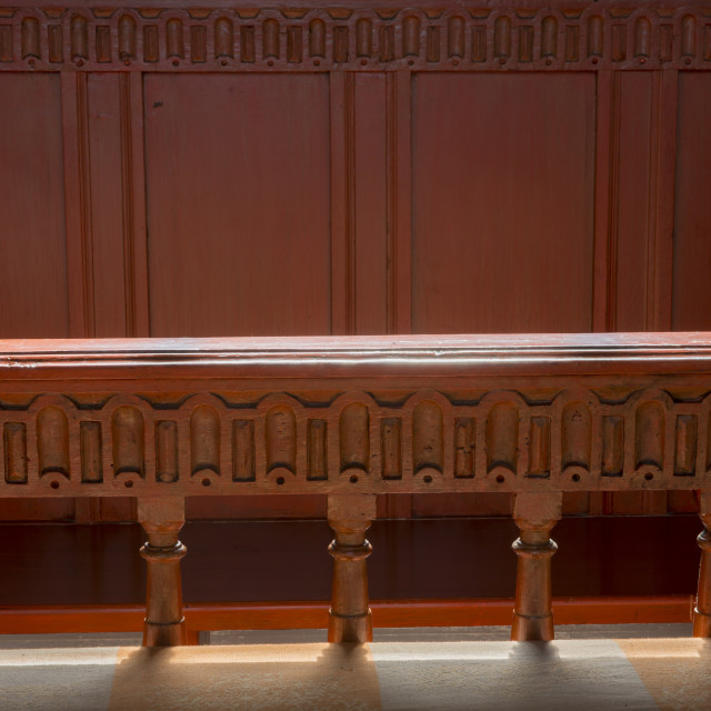 """""""Great Bench in Church Feerwerd"""" stock image"""