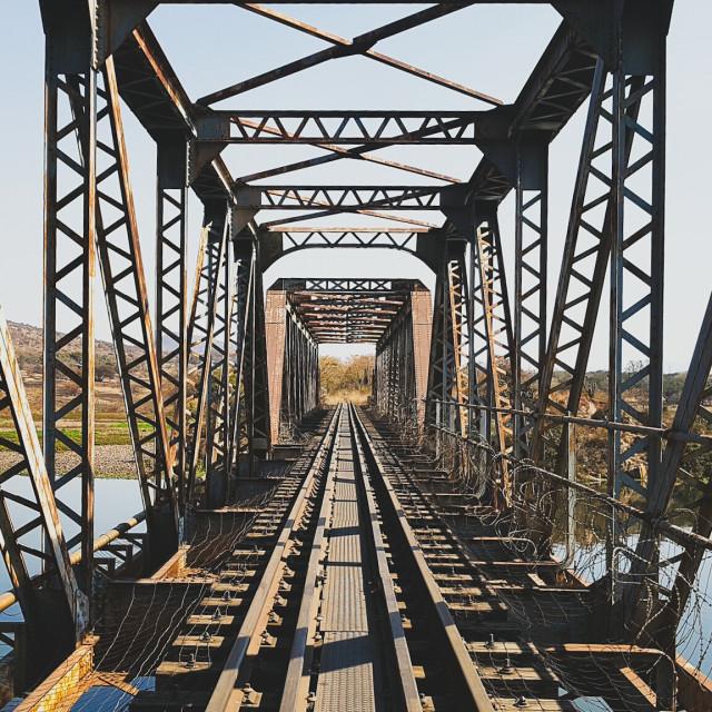 """""""Abandoned rail bridge"""" stock image"""
