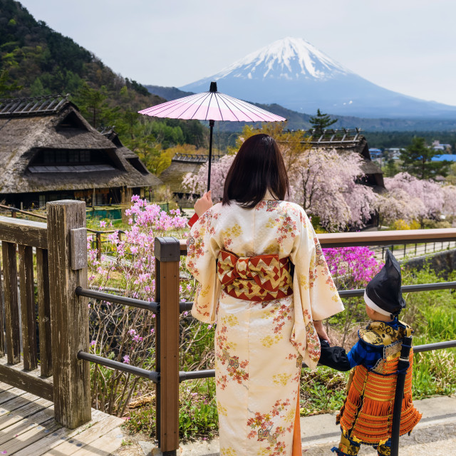 """Japanese dress family with Sakura and mt. fuji"" stock image"