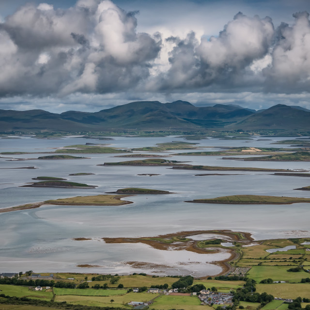 """""""The archipelago near Westport from the road to Croagh Patrick, Ireland"""" stock image"""