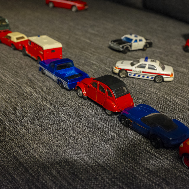 """""""Toy cars stuck in traffic"""" stock image"""