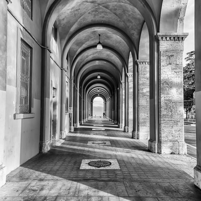 """Scenic portico in the city centre of Perugia, Italy"" stock image"