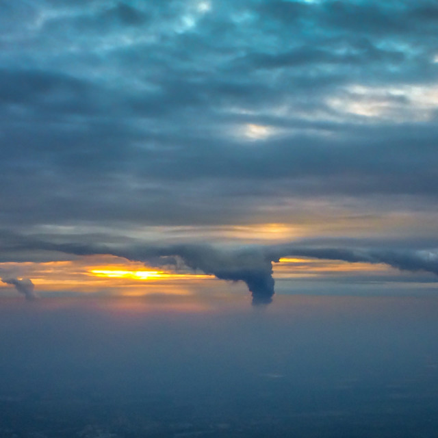 """Power station plumes over Cologne"" stock image"