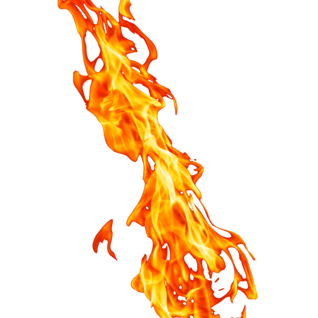 """Orange fire flame isolated on white background"" stock image"