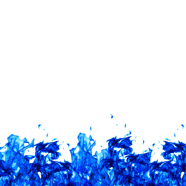 """Blue fire wall on the bottom of white background"" stock image"