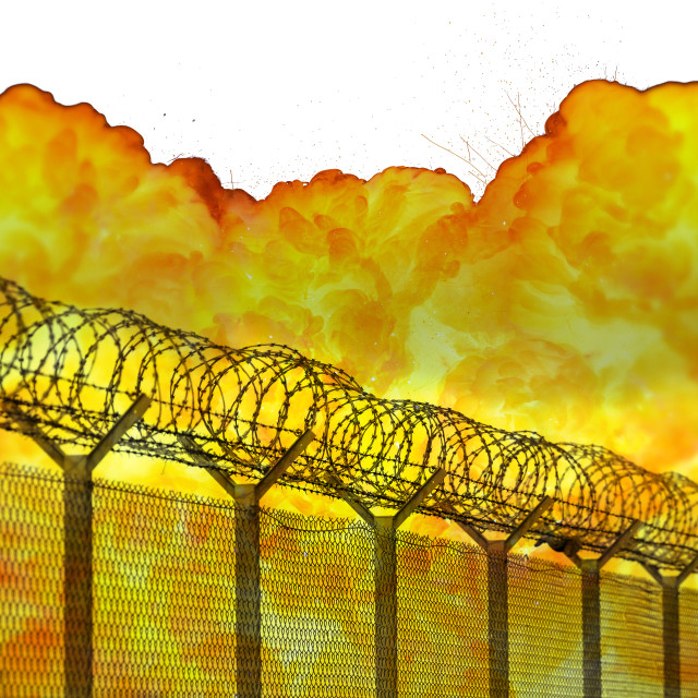 """Realistic orange fire explosion behind restricted area barbed wire fence isolated on white background"" stock image"