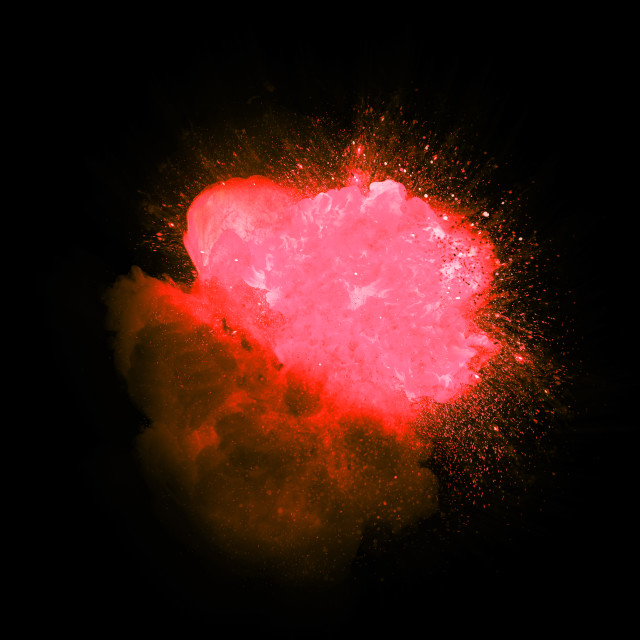 """Realistic red and pink explosion with sparks and smoke isolated on black background"" stock image"
