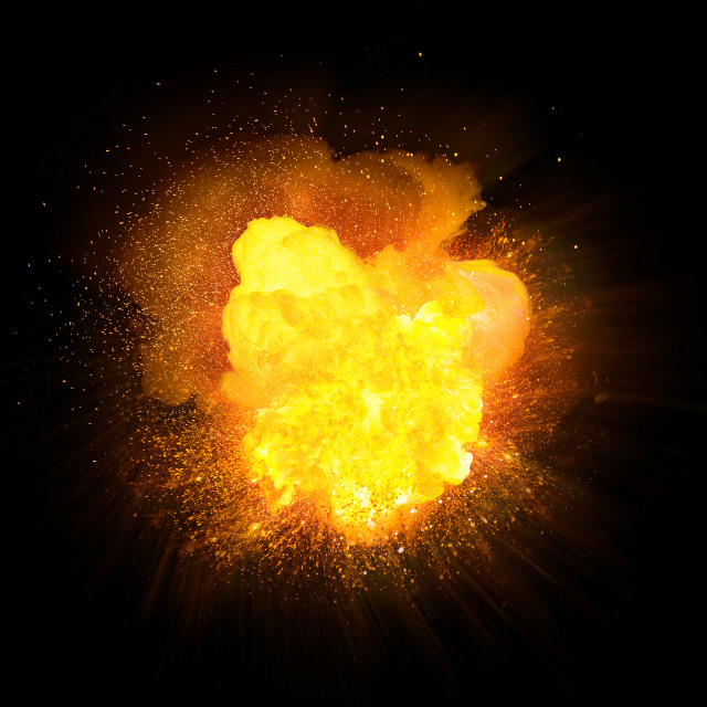 """Realistic orange fire explosion with sparks isolated on black background"" stock image"