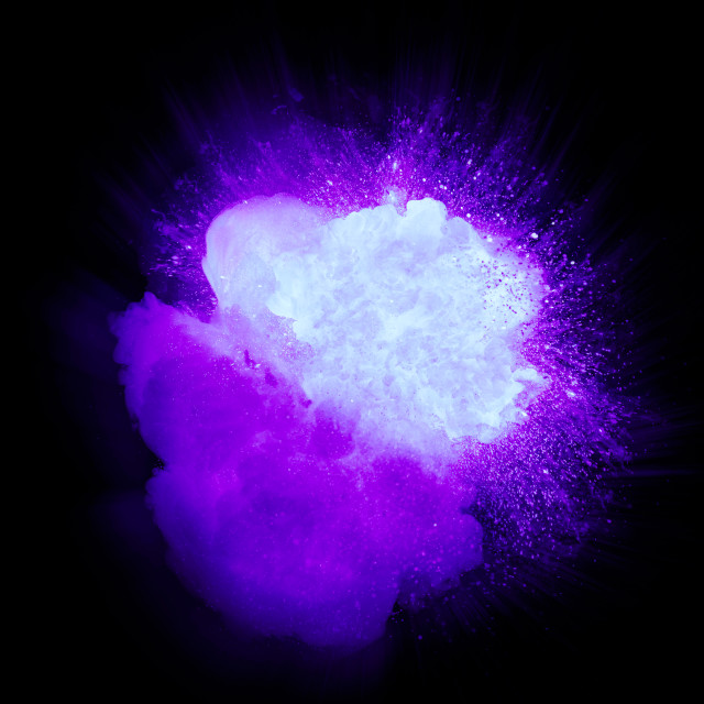 """Realistic ultraviolet explosion with sparks and smoke isolated on black background"" stock image"