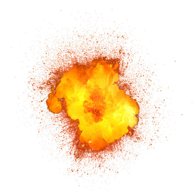 """Realistic bomb explosion with sparks isolated on white background"" stock image"
