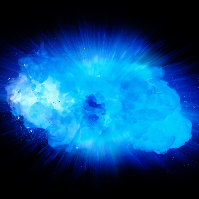 """Realistic blue explosion with sparks and smoke isolated on black background"" stock image"
