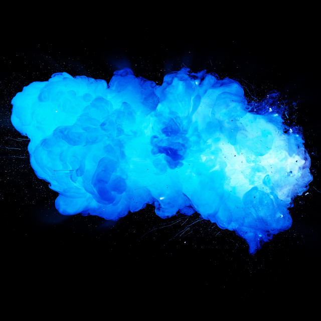 """Realistic blue smoky explosion isolated on black background"" stock image"