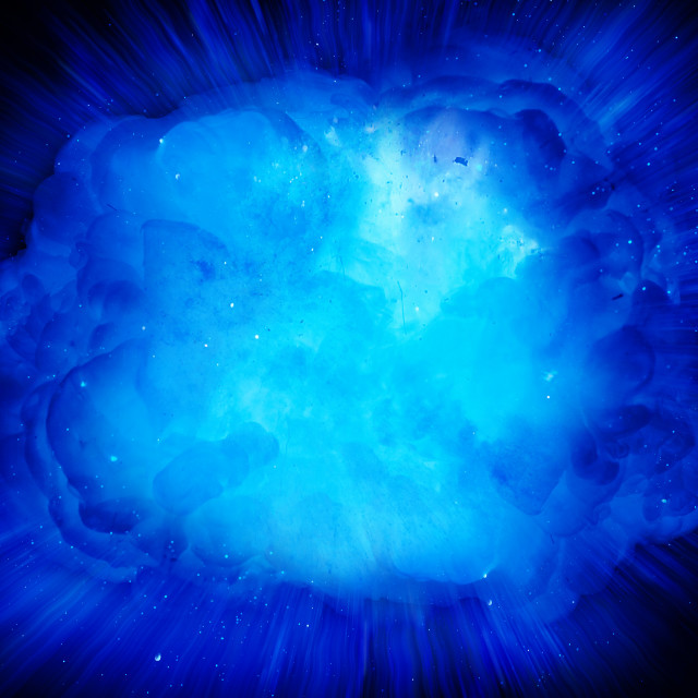 """Realistic blue explosion with sparks and smoke on black background"" stock image"