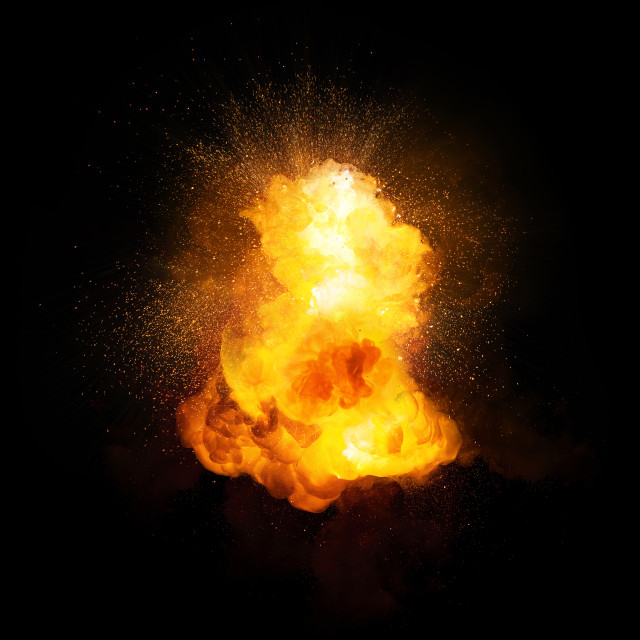 """Realistic fiery bomb explosion with sparks and smoke isolated on black background"" stock image"