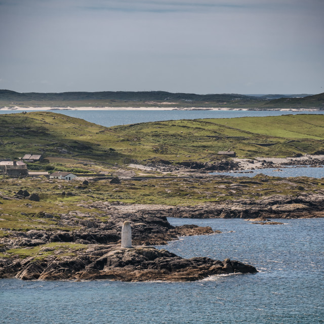 """""""White lady Mystery day time maritime marker lighthouse at clifden bay, Ireland"""" stock image"""