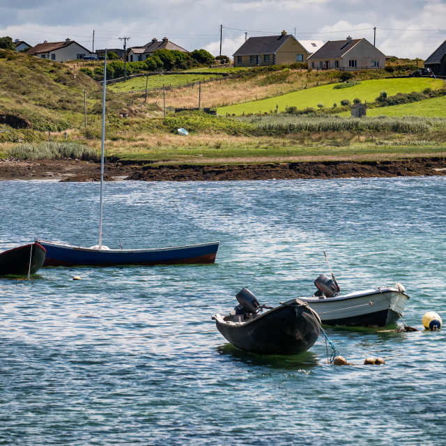 """""""Traditional Irish fishing boats vessels in county Galway, near Letterfrack"""" stock image"""