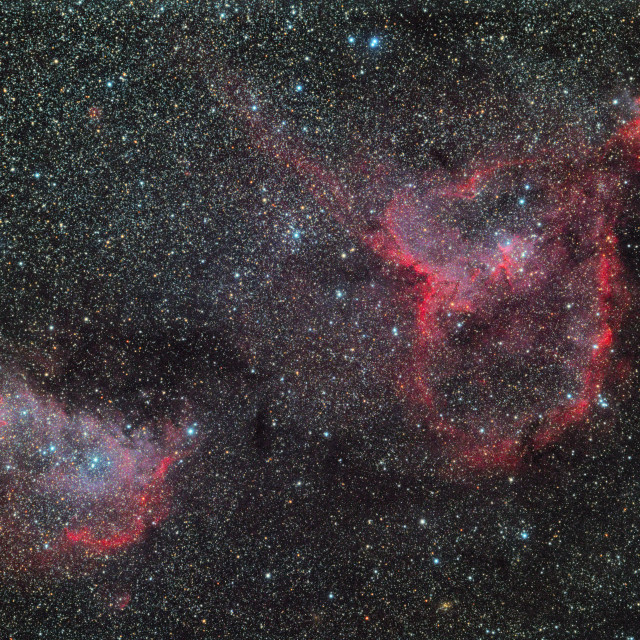 """The Heart and Soul Nebula (IC1805 & IC1848))"" stock image"