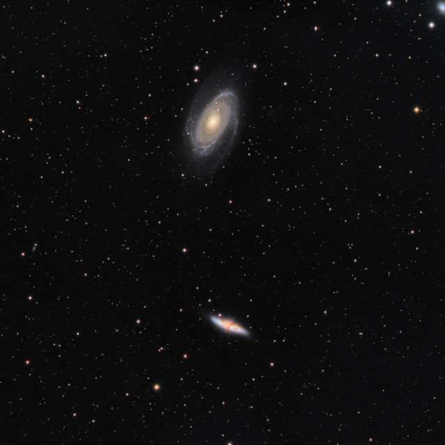 """M81 Bodes Nebula and M82 Cigar Galaxy"" stock image"