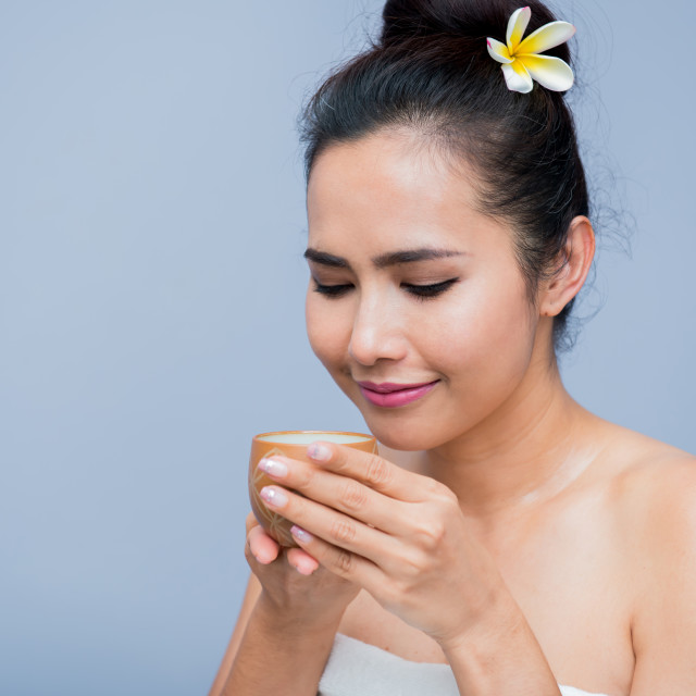 """drinking hot tea, spa and Thai massage, relaxing and lifestyle"" stock image"