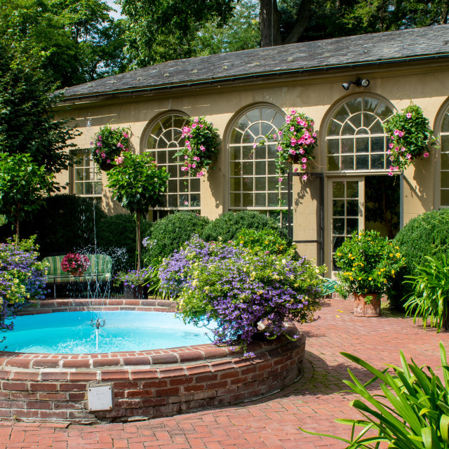 """""""Small Fountain and Garden Shed"""" stock image"""