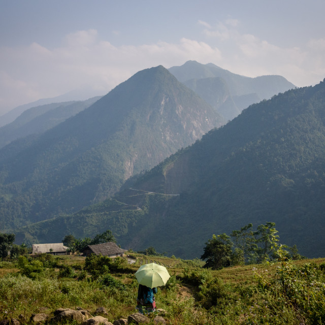 """""""Girl with umbrella hiking in mountains of Sapa Vietnam"""" stock image"""