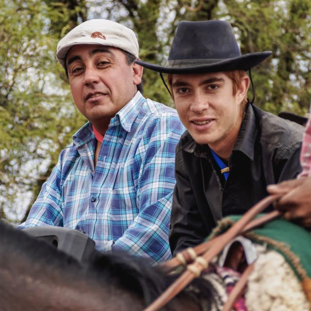"""Cabalgata de Los Gauchos, Gaucho horse parade from San Juan to Vallecito, San..."" stock image"