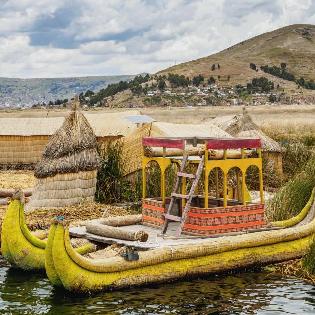 """Traditional Reed Boat, Uros Floating Islands, Lake Titicaca, Puno Region, Peru"" stock image"