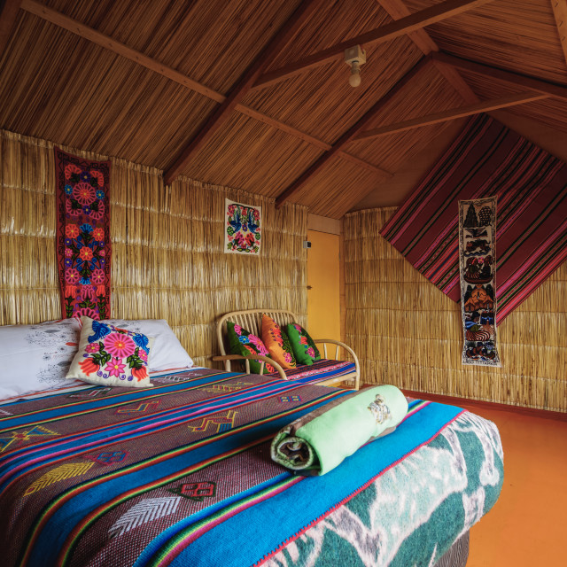 """Room Interior, Uros Titicaca Lodge, Uros Floating Islands, Lake Titicaca,..."" stock image"