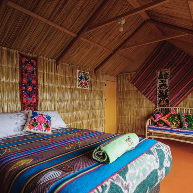 """Room Interior, Uros Titicaca Lodge, Uros Floating Islands, Lake Titicaca,..."" stock image"