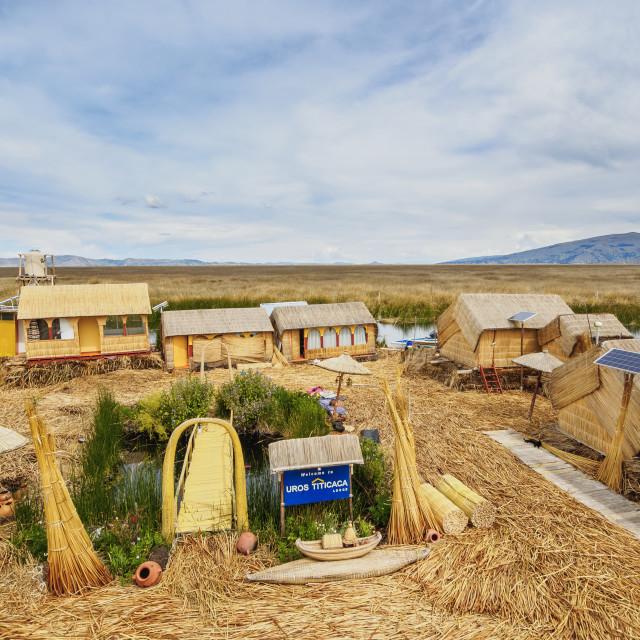 """Uros Titicaca Lodge, Uros Floating Islands, Lake Titicaca, Puno Region, Peru"" stock image"