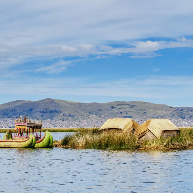 """Uros Floating Island, Lake Titicaca, Puno Region, Peru"" stock image"