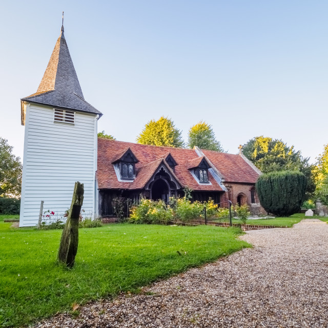 """""""Greensted Church, Ongar."""" stock image"""