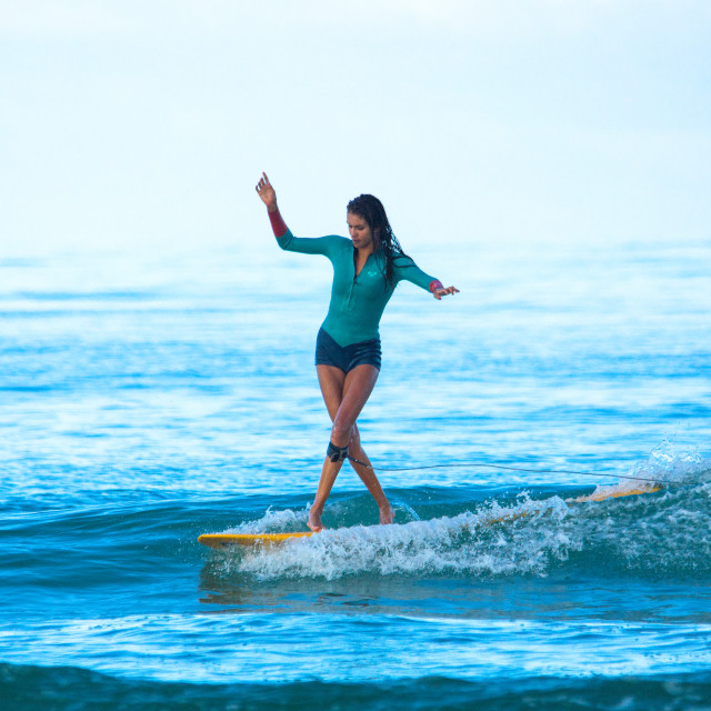 """""""Girl on a longboard in France"""" stock image"""
